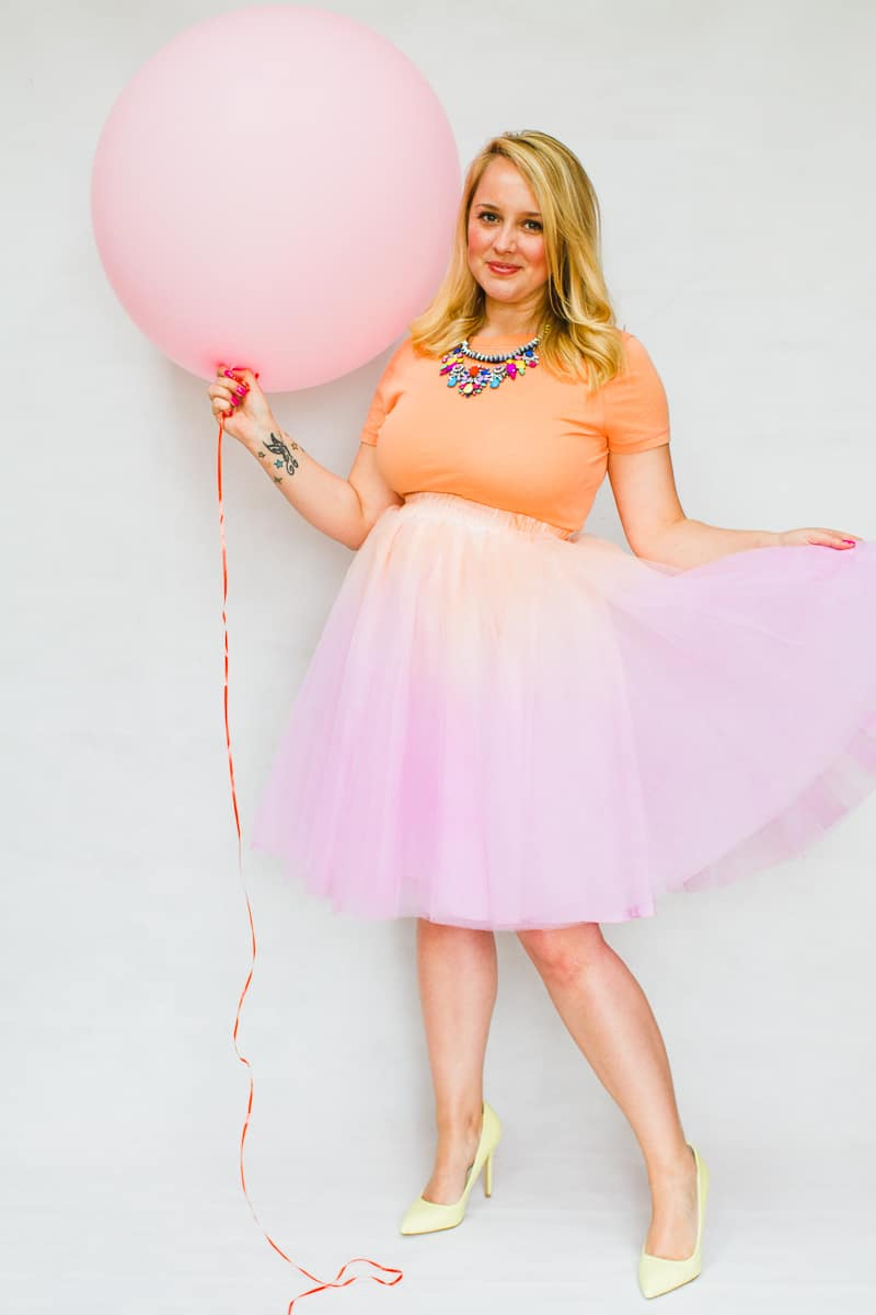 DIY ombre tulle skirts two tone blue purple orange pink-4