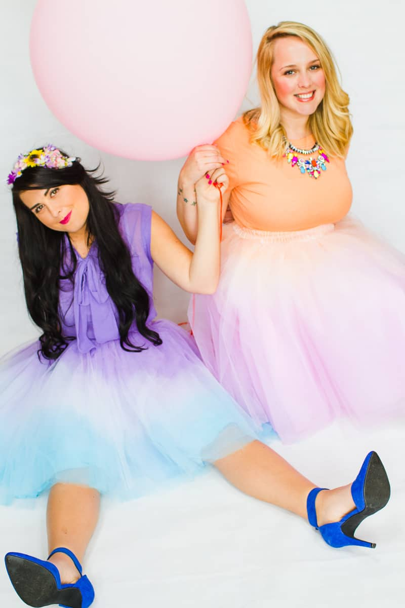 DIY ombre tulle skirts two tone blue purple orange pink-7
