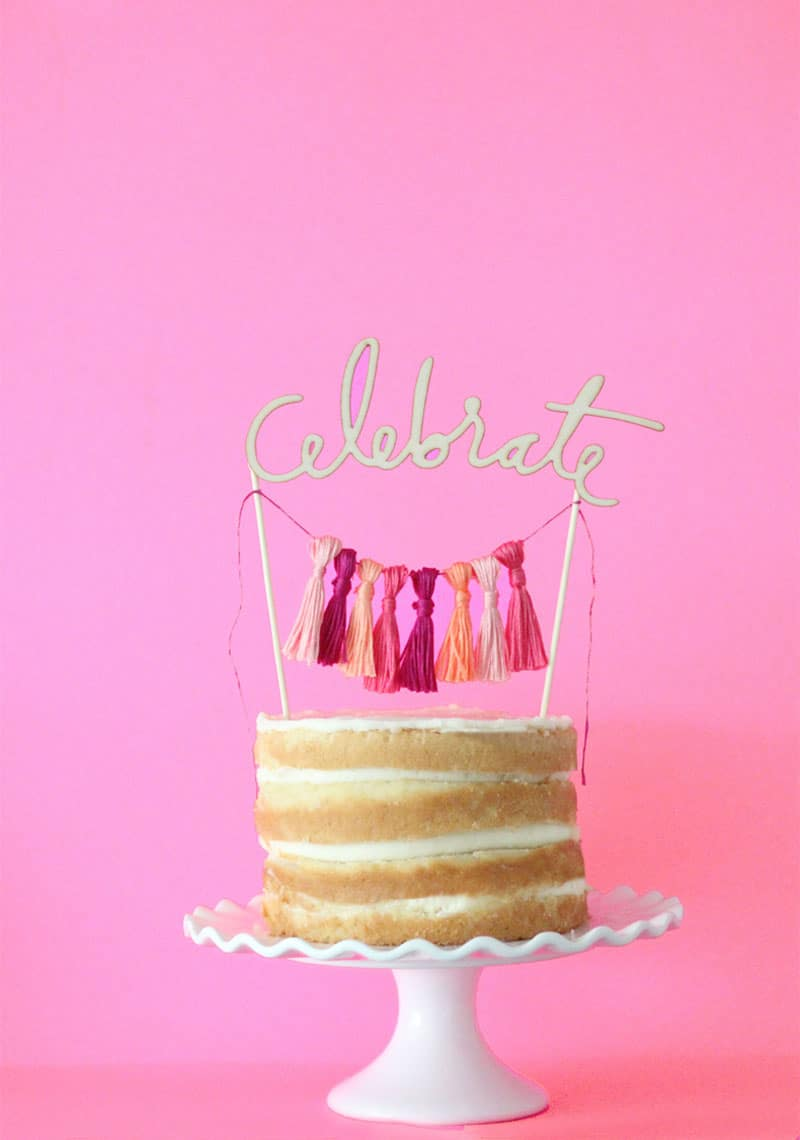 DIY WEDDING CAKE TOPPER WITH TASSELS AND WOODEN CELEBRATE CUT OUT ...