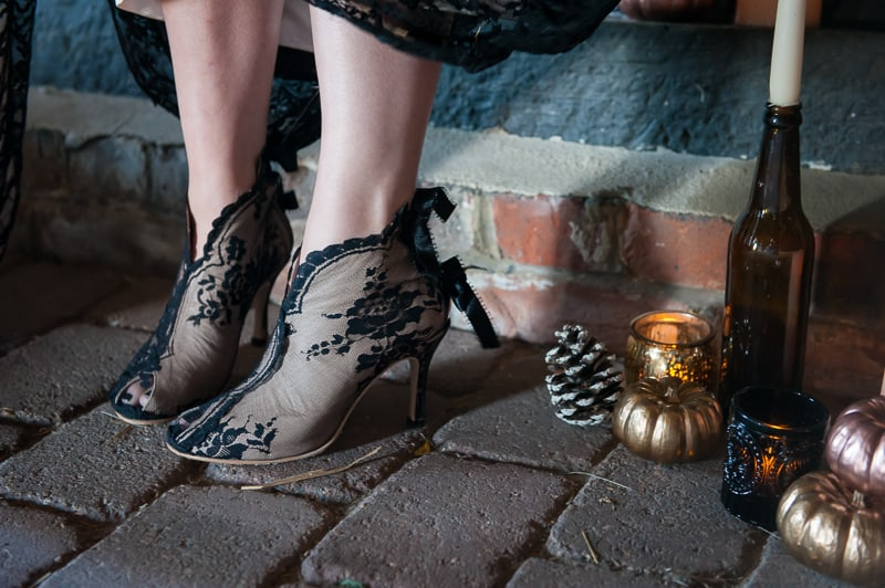 Halloween Wedding Inspiration Black Lace Wedding Dress Cococouture Autumn Fall Pumpkins Gold Cococouture-16