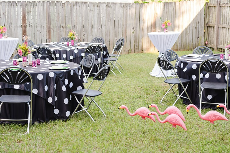 Flamingo Themed Engagement Shoot Party Retro pineapples gold pink wedding inspiration-1