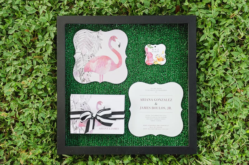 Flamingo Themed Engagement Shoot Party Retro pineapples gold pink wedding inspiration-11