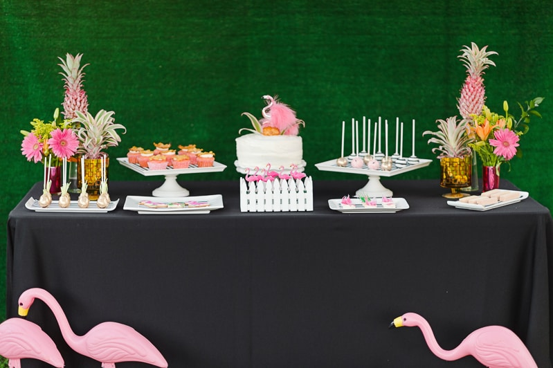 Flamingo Themed Engagement Shoot Party Retro pineapples gold pink wedding inspiration-25