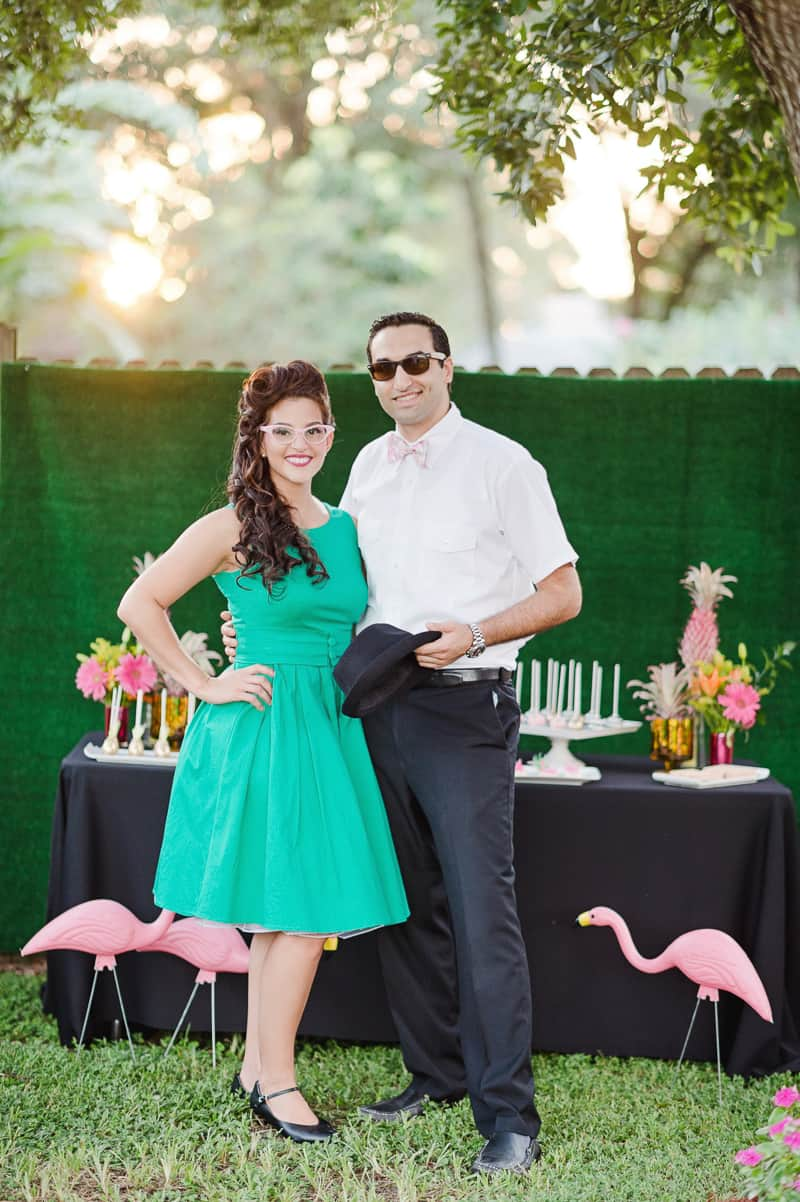 Flamingo Themed Engagement Shoot Party Retro pineapples gold pink wedding inspiration-26