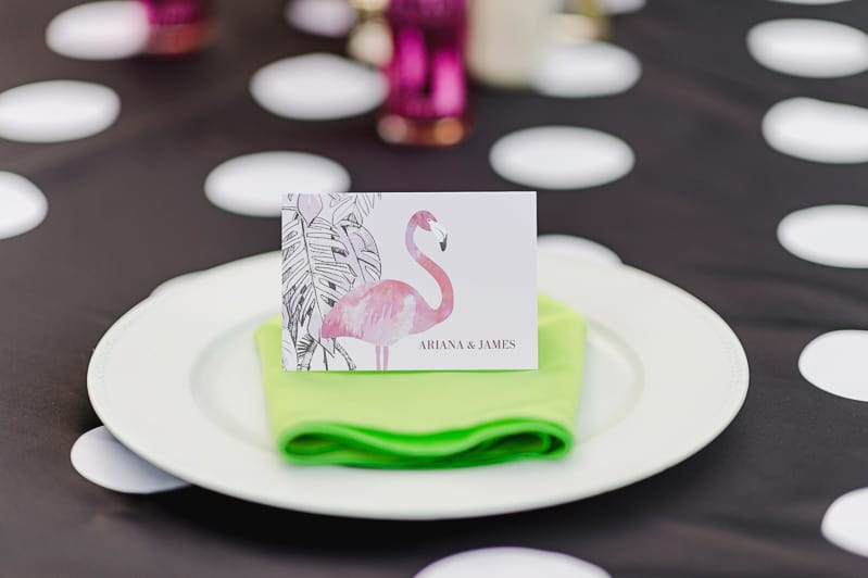 Flamingo Themed Engagement Shoot Party Retro pineapples gold pink wedding inspiration-3