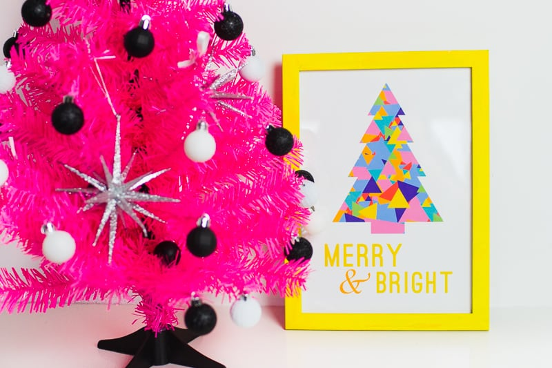 Free Printable Christmas Print Merry and bright quote frame modern geometric colourful colorful tree
