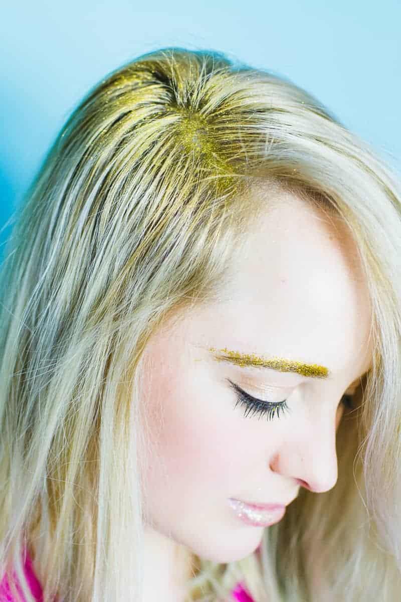 Christmas makeup looks glitter gold ways to wear hairline eyeshadow lipstick nails fun golden sparkle-8