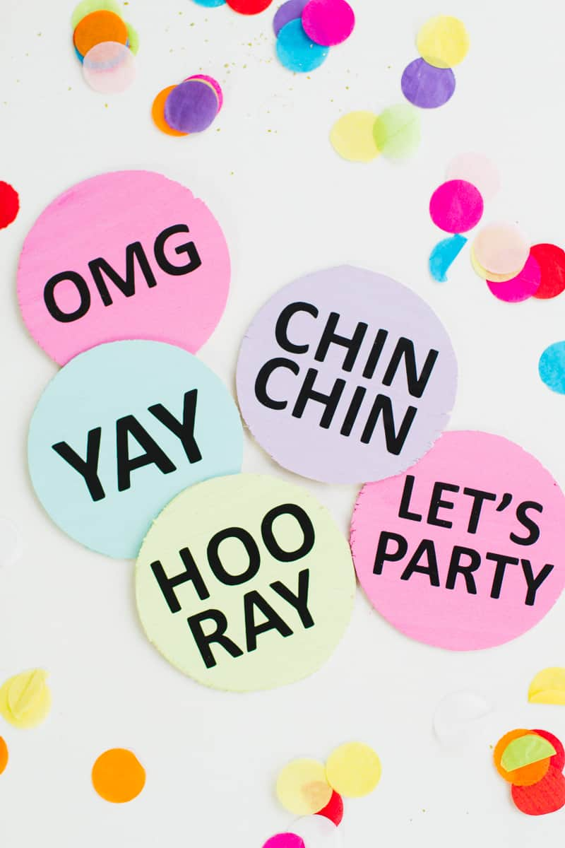 Coaster DIY party mems fun colourful typography font hooray lets party OMG pastels chin chin yay new years eve party DIY tutorial-1