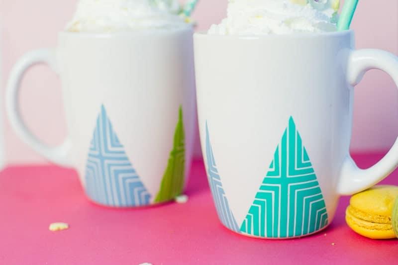 DIY geometric tree mugs cricut vinyl christmas xmas gift idea modern-3