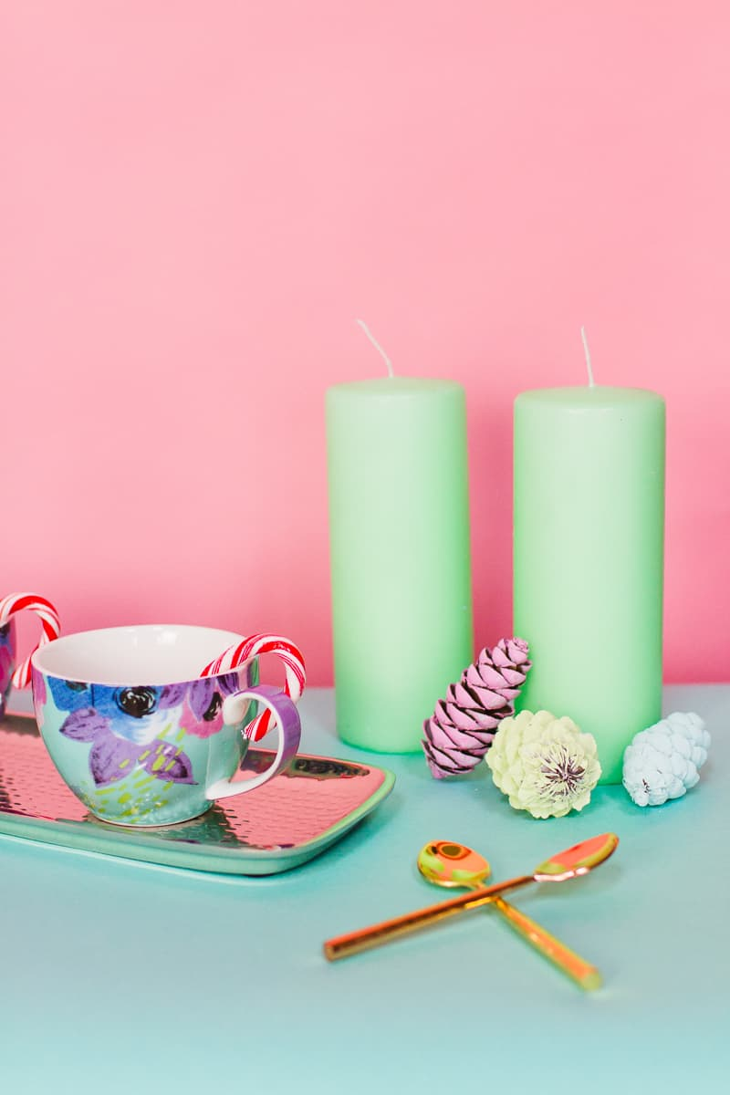 Hot chocolate bar oliver bonas pastel themed decoration christmas xmas styling mint pink blue pine cones mugs festive pretty modern DIY how to-1