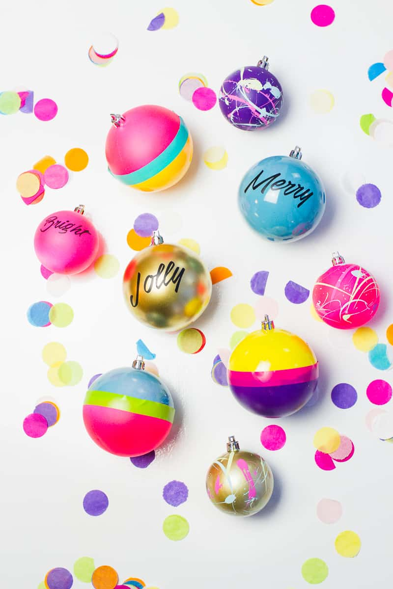 How to decorate own baubles christmas DIY tutorial fun modern paint splattered typography quotes colour blocked_