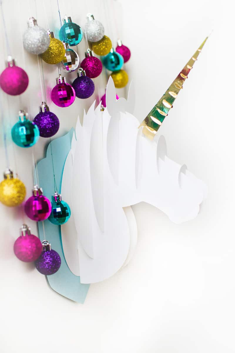 Unicorn head DIY christmas decoration tutorial 3d papercraft cricut card xmas modern_-3