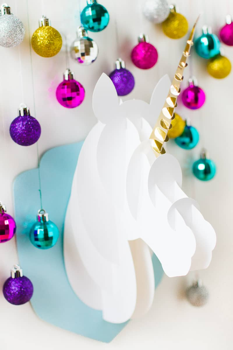 deck the halls with this diy 3d papercraft unicorn head cricut giveaway - Unicorn Christmas Decorations