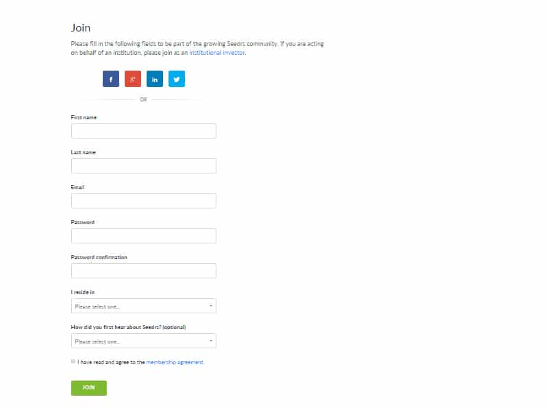 setting up a seedrs account step 2