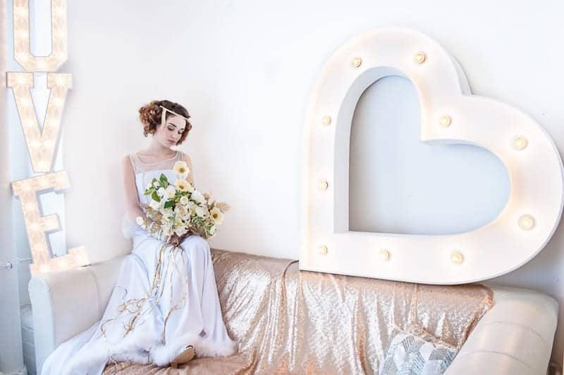 VAUDEVILLE VALENTINE Wedding inspiration Art Deco 1920s theme broadway bright lights and feathers_-21