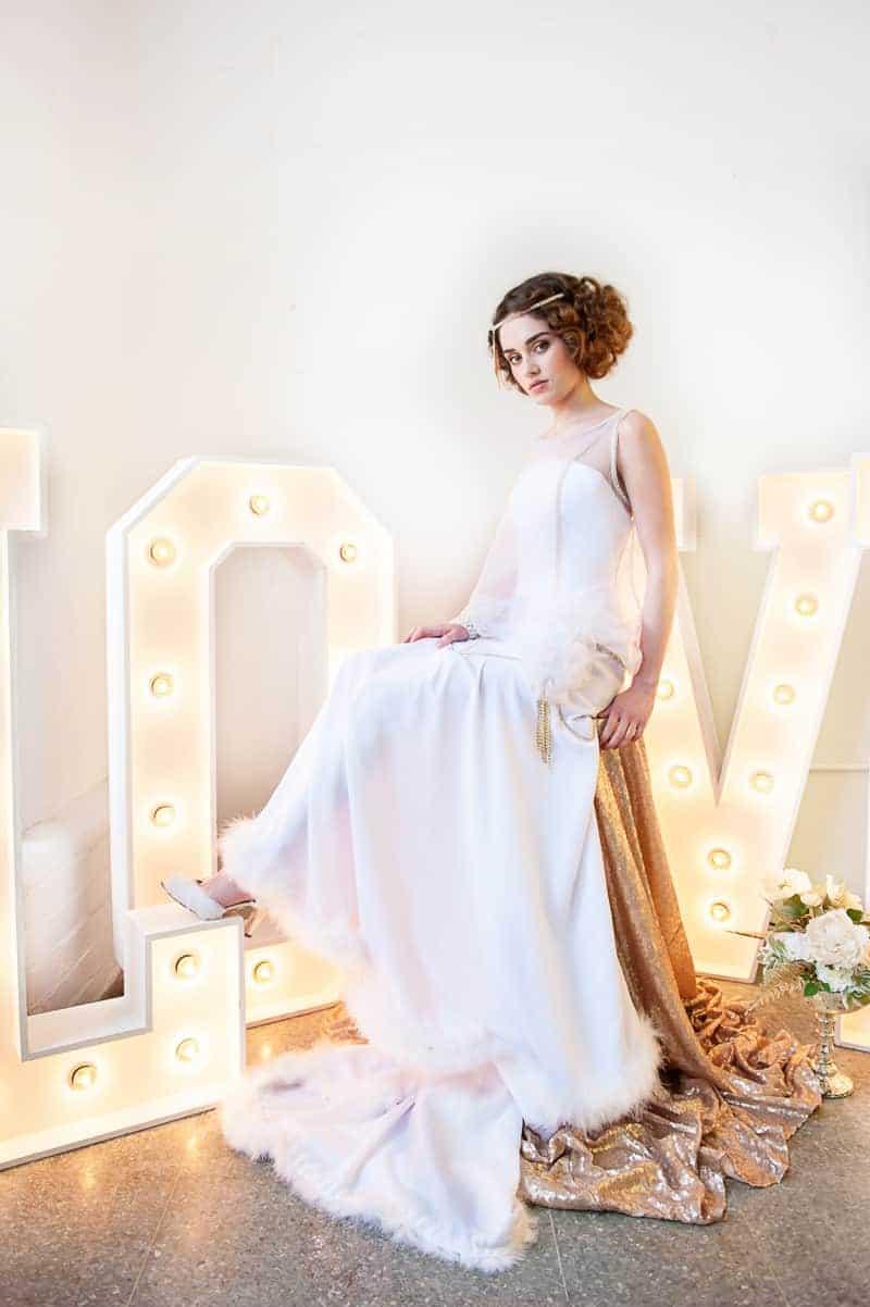 VAUDEVILLE VALENTINE Wedding inspiration Art Deco 1920s theme broadway bright lights and feathers_-29