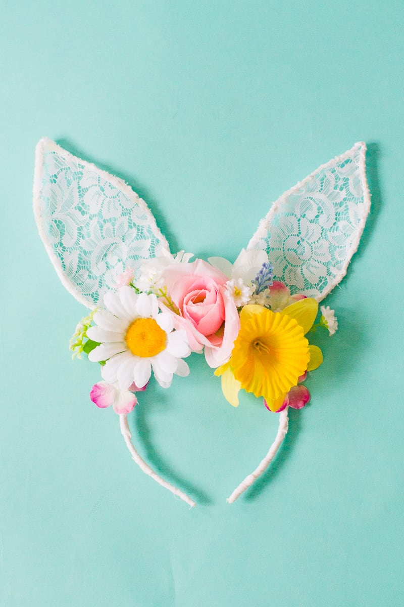 DIY bunny ears floral flower crown easter spring tutorial with faux flowers and lace flower girl accessories headband-4