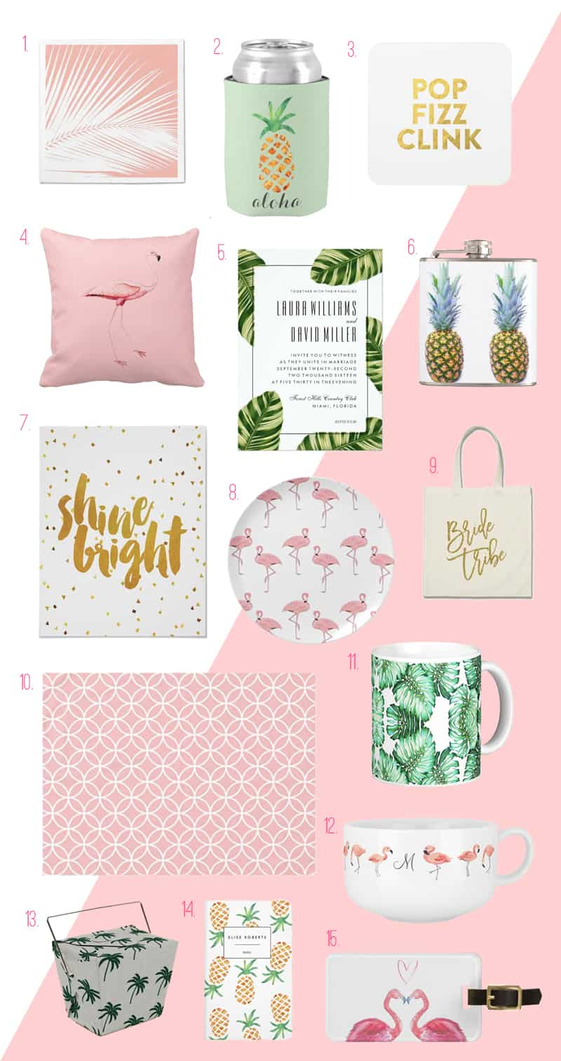 Zazzle Tropical Bridal Shower Inspiration Pineapples Palm Leaves Flamingos
