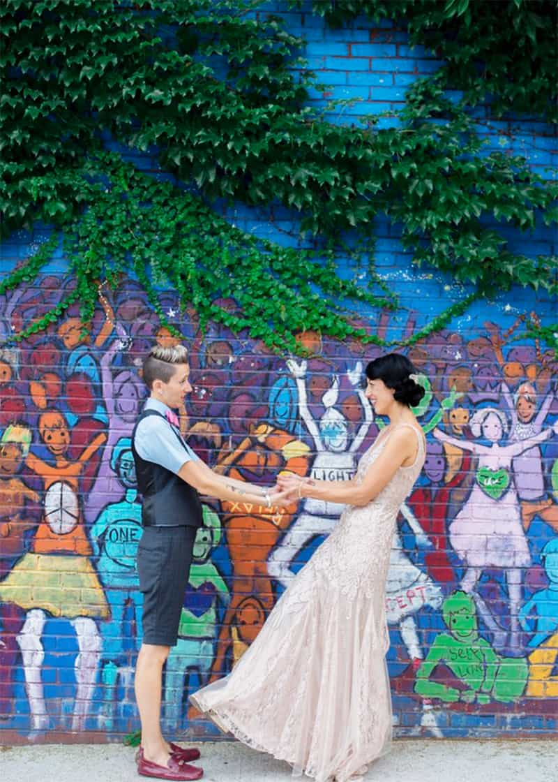 Colourful Wall Murals Wedding Day Couples Portraits