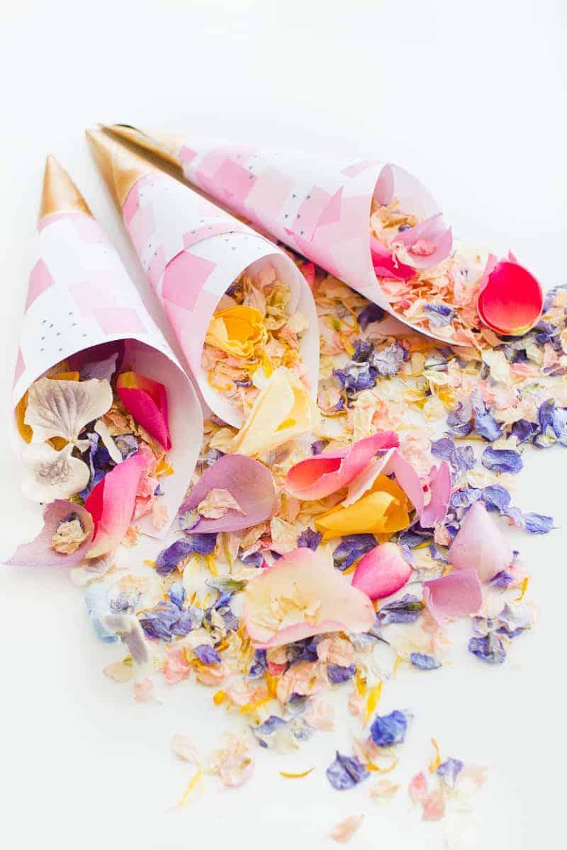 Confetti cone free printable pink abstract download natural confetti petals shropshire petals colourful wedding inspiration-11
