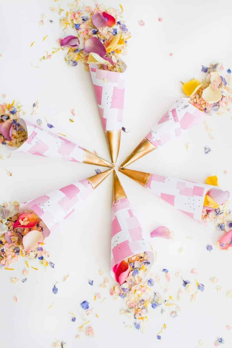 Confetti cone free printable pink abstract download natural confetti petals shropshire petals colourful wedding inspiration-13