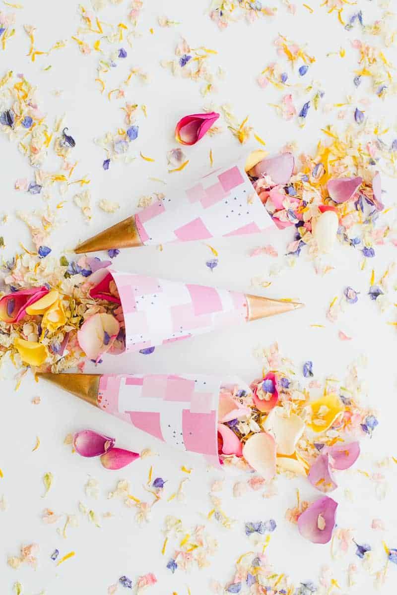 Confetti cone free printable pink abstract download natural confetti petals shropshire petals colourful wedding inspiration-14