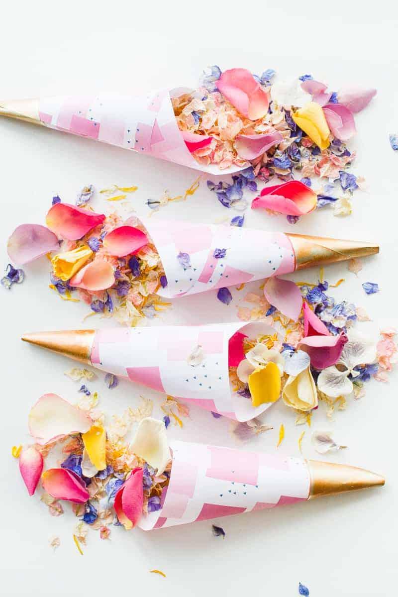 Confetti cone free printable pink abstract download natural confetti petals shropshire petals colourful wedding inspiration-3
