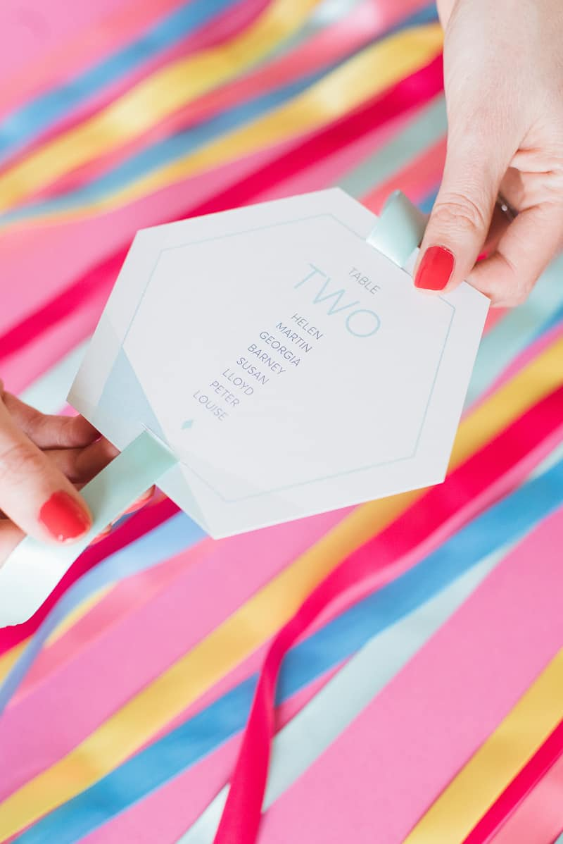 DIY colourful ribbon table plan unique alternative escort cards-10