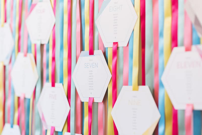 DIY colourful ribbon table plan unique alternative escort cards-2