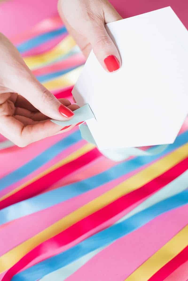DIY colourful ribbon table plan unique alternative escort cards-7