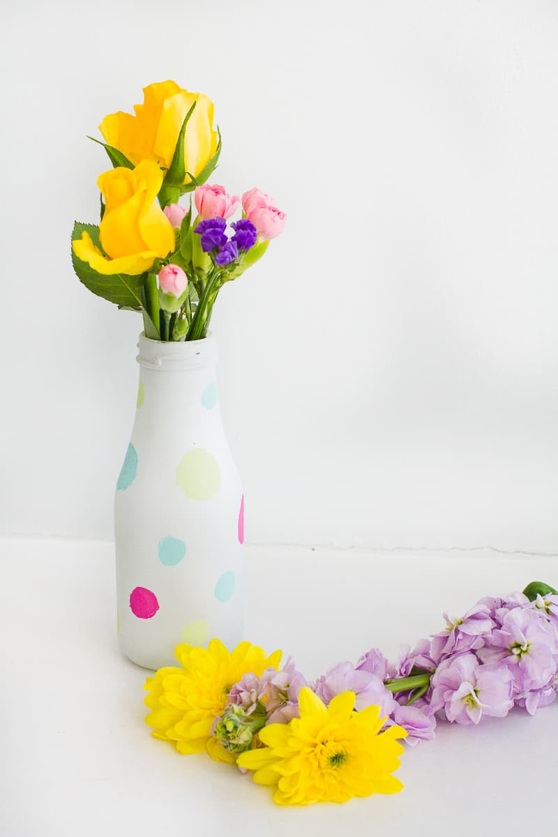 DIY polka dot painted bright colourful bottle tutorial wedding decor