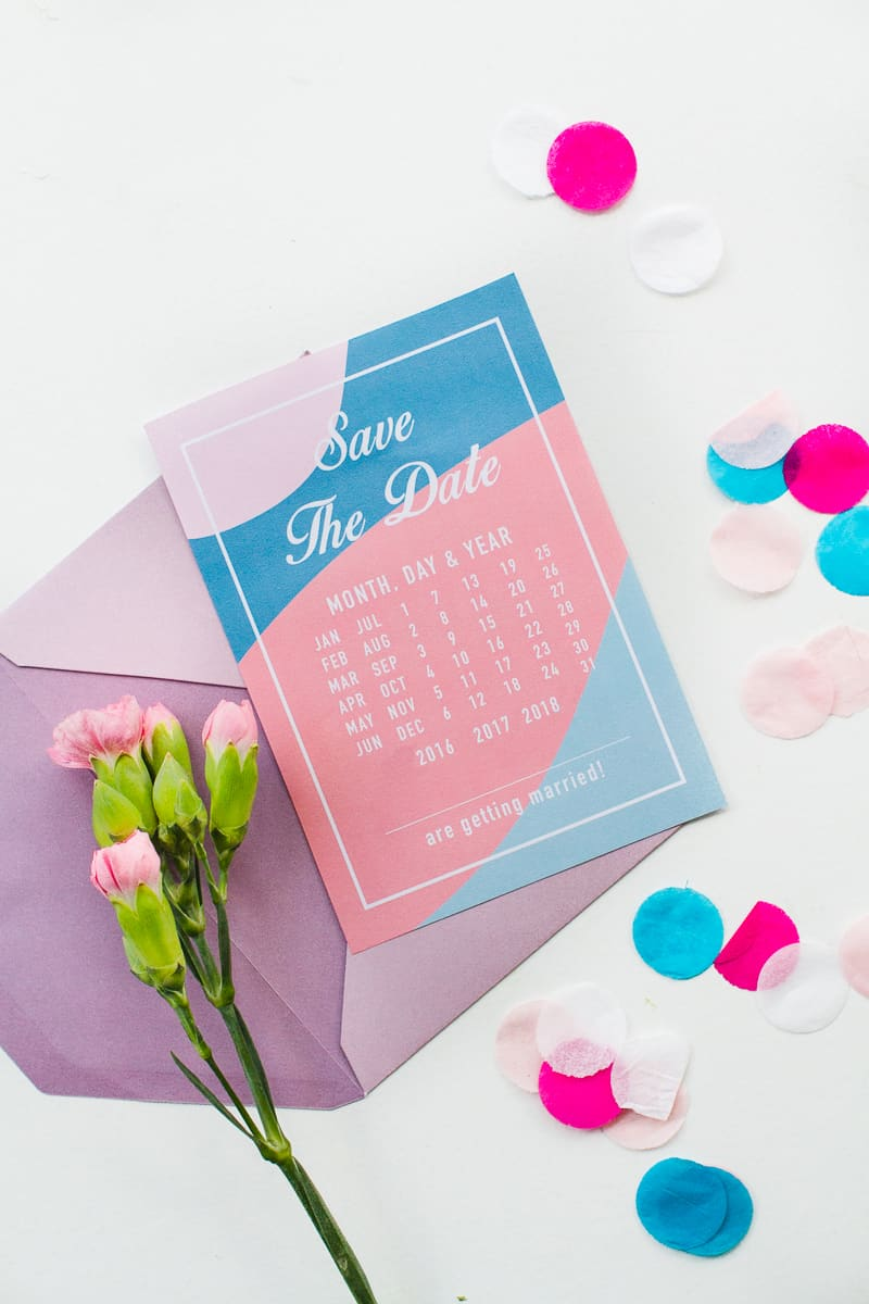 Free Printable download save the dates modern pink blue colour scheme calendar-5