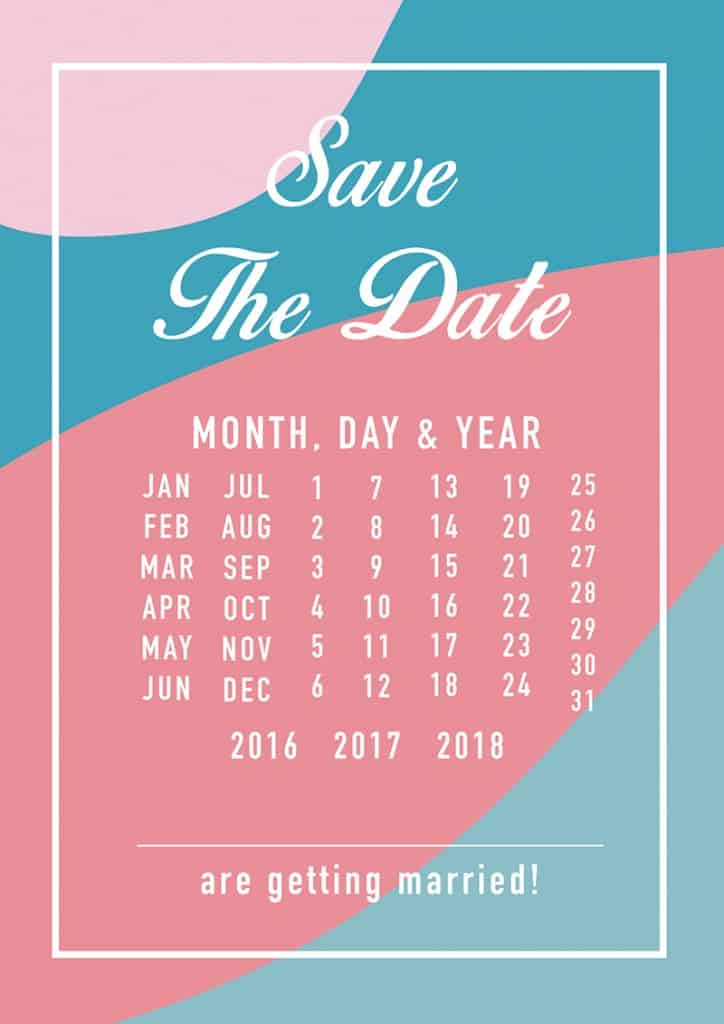 Modern Free Printable Save The Dates In A Blue And Pink