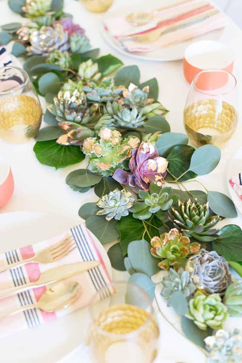 Diy Mixed Metals Succulent Table Runner7 Bespoke Bride