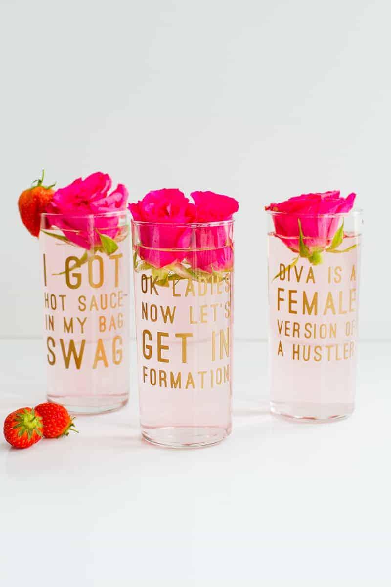 Beyonce Lemonade Lyric Quotes Glasses Cocktails Drinks Hen Party Bachelorette Song Fun Girl Power Queen B DIY Cricut Tutorial Window Cling-3