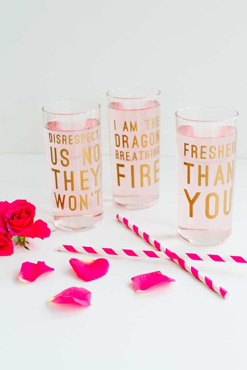 DIY BEYONCE LYRIC QUOTE COCKTAIL GLASSES! FUN FEMINIST