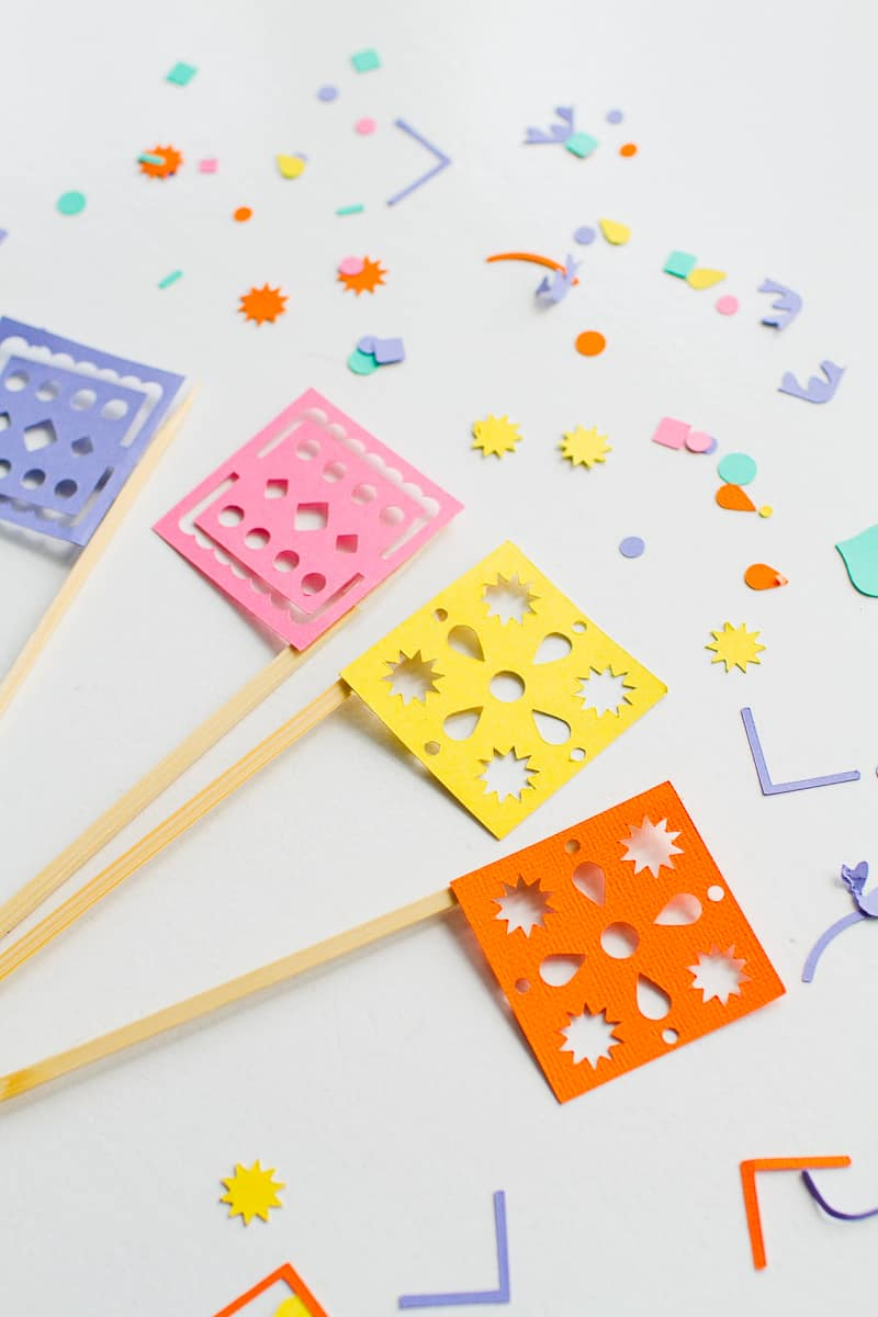 DIY Papel Picado Flag Drink Stirrers Wedding Decor Cricut Explore Colourful Mexican theme_-3