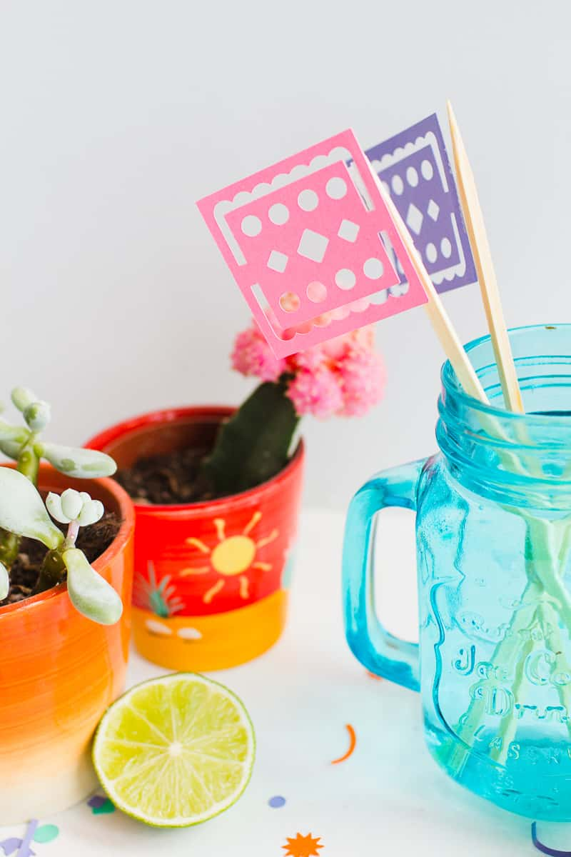DIY Papel Picado Flag Drink Stirrers Wedding Decor Cricut Explore Colourful Mexican theme_-6