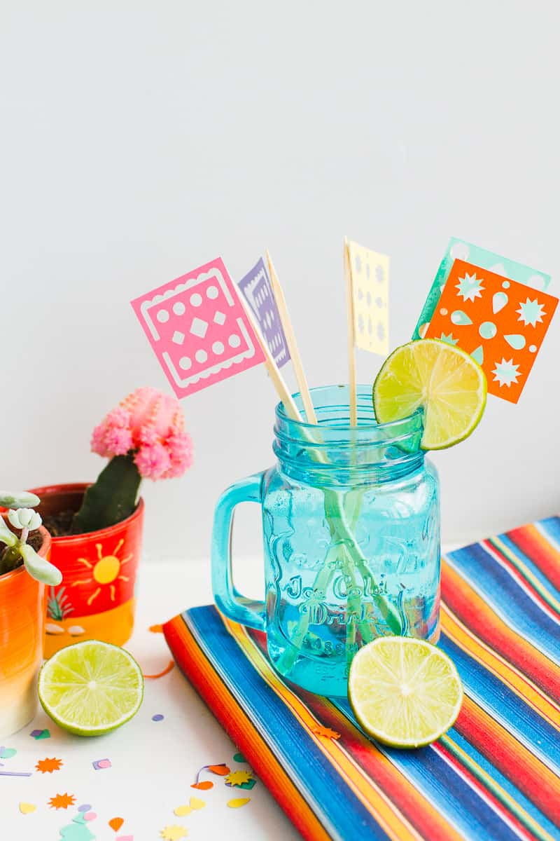 DIY Papel Picado Flag Drink Stirrers Wedding Decor Cricut Explore Colourful Mexican theme_-7