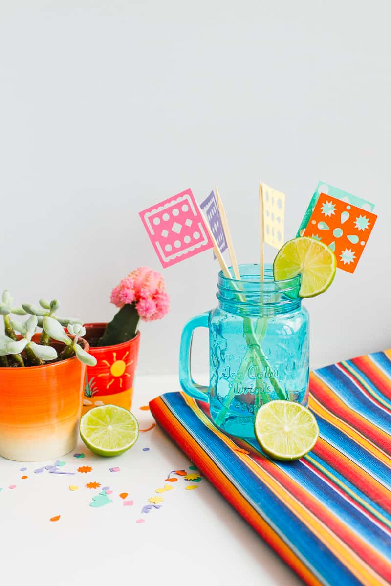 DIY Papel Picado Flag Drink Stirrers Wedding Decor Cricut Explore Colourful Mexican theme_-8