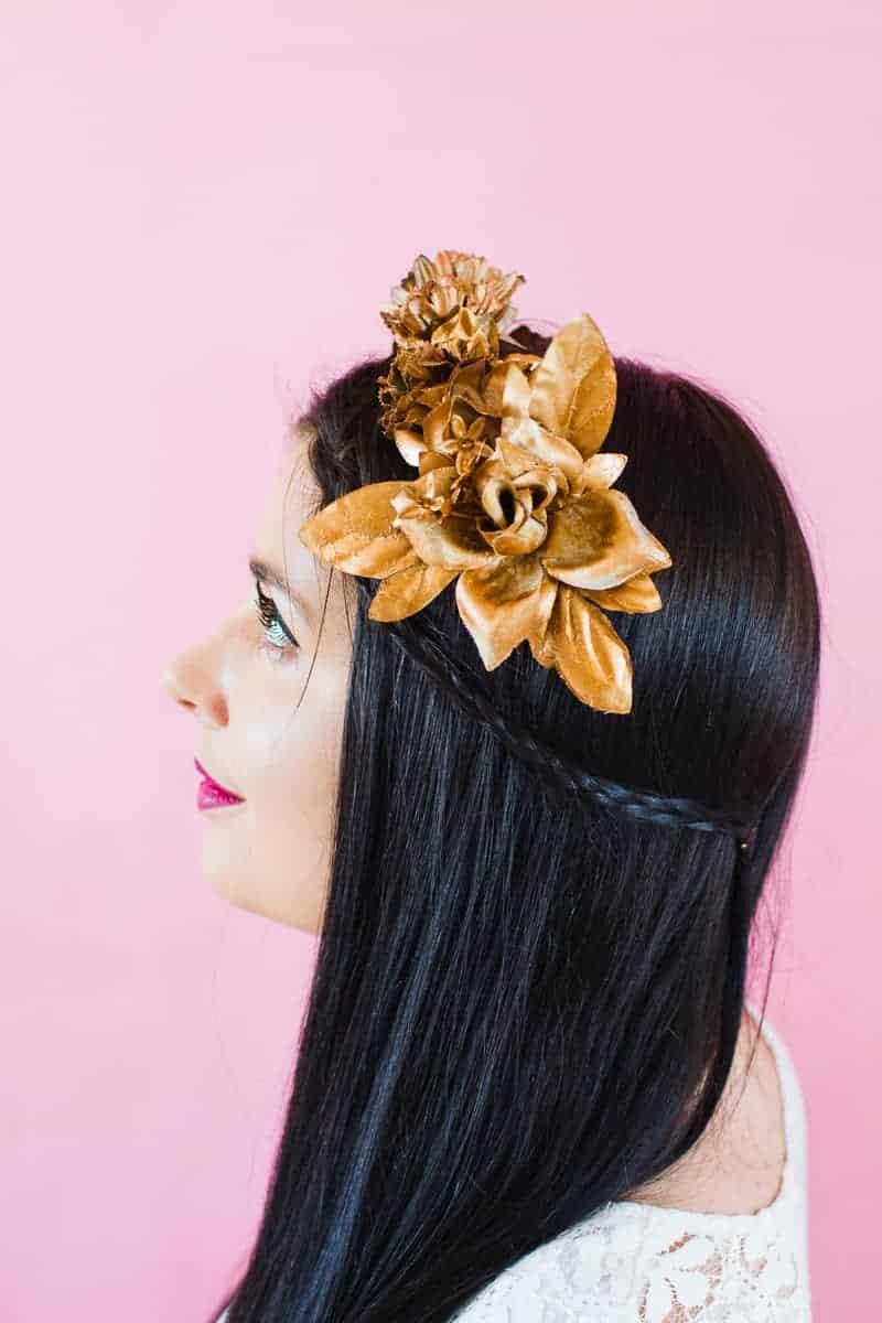 DIY metallic bronze gold floral crown faux flower headband Wedding bridal_-7
