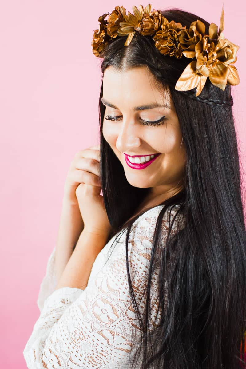 Diy Metallic Flower Crown For All Your Copper Colour Lovers