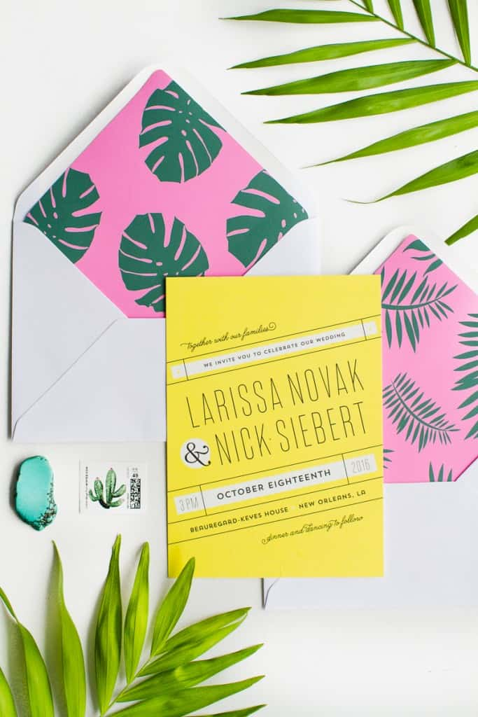 Envelope Liners free printable stationery tropical palm tree fronds leaves DIY-4