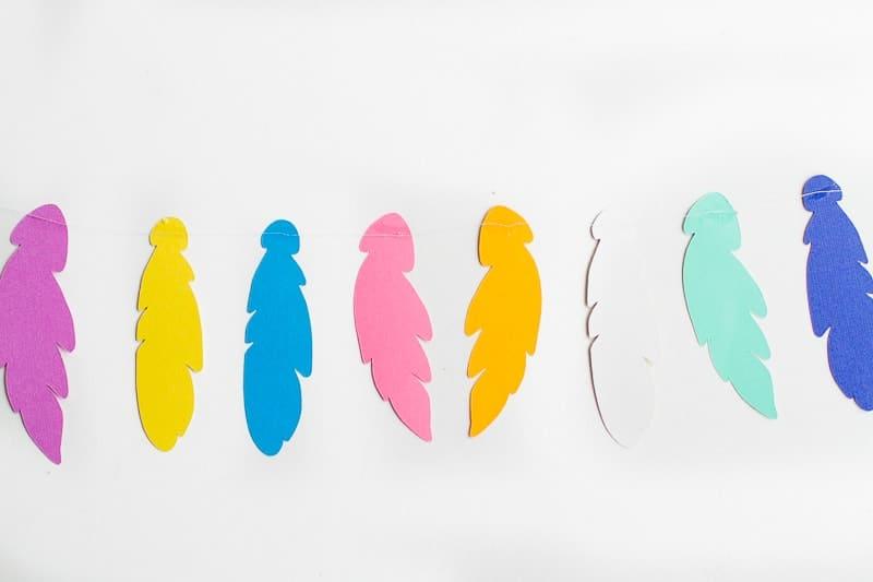 Feather Garland Card Colourful DIY tutorial easy bright feathers cricut boho modern-14