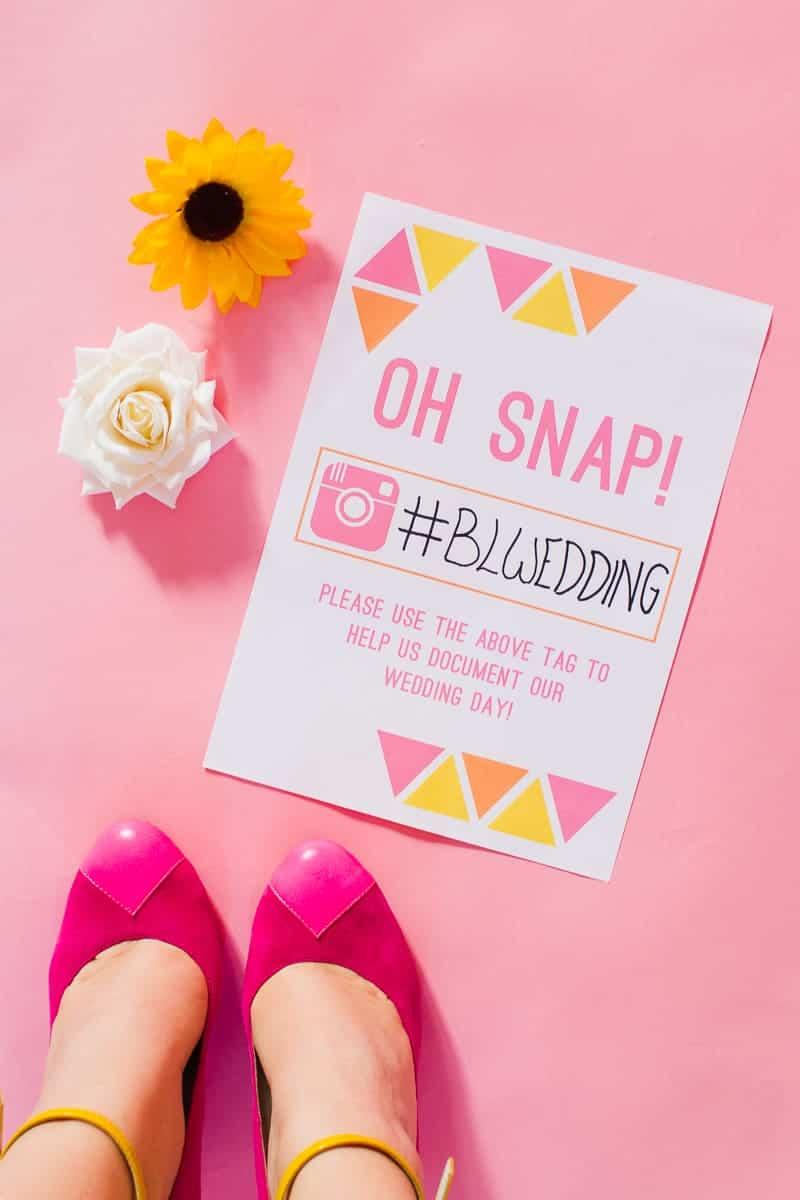 Free Printable Instagram HashTag Wedding Sign