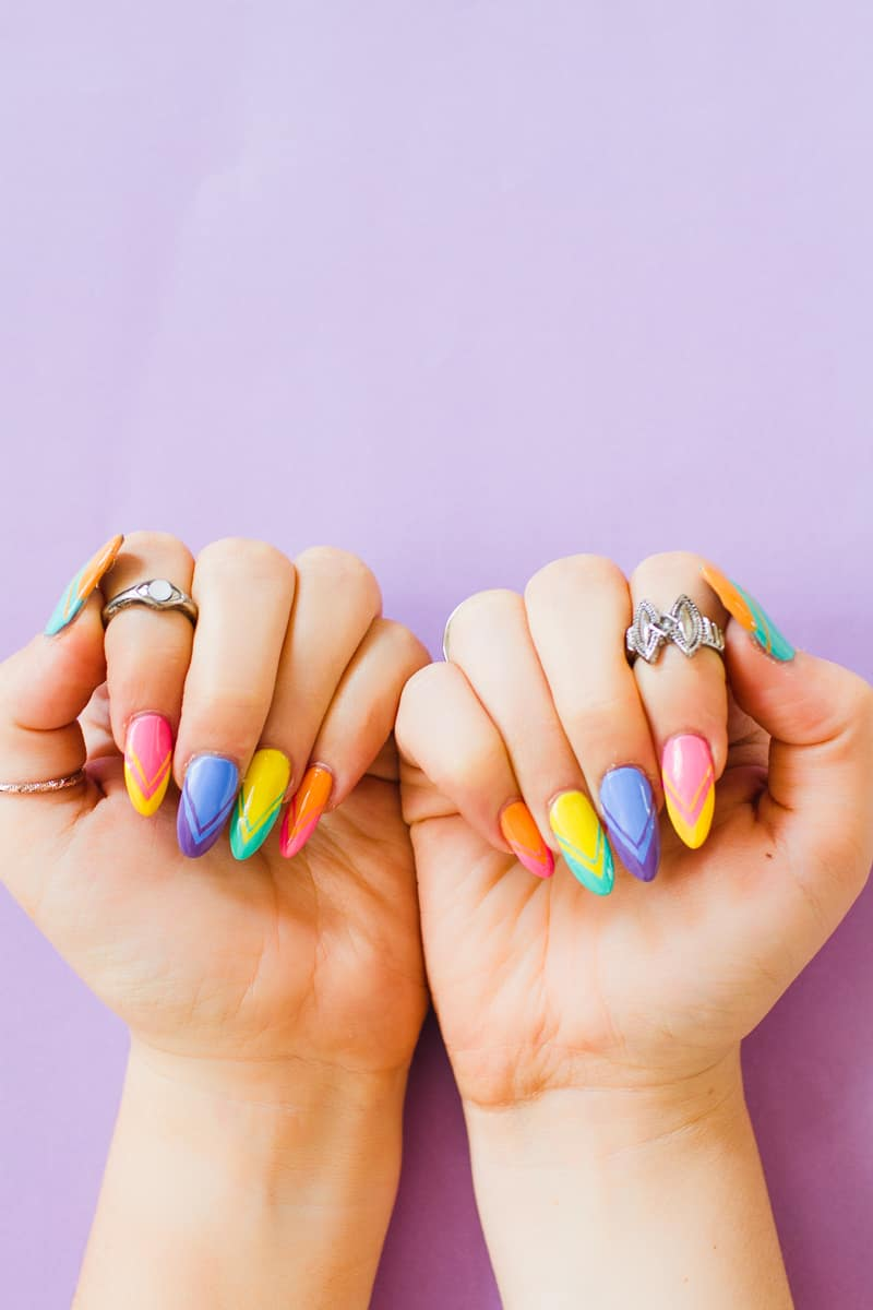 Geometric Bright Colourful Nail Tutorial Nail designs modern fun-5