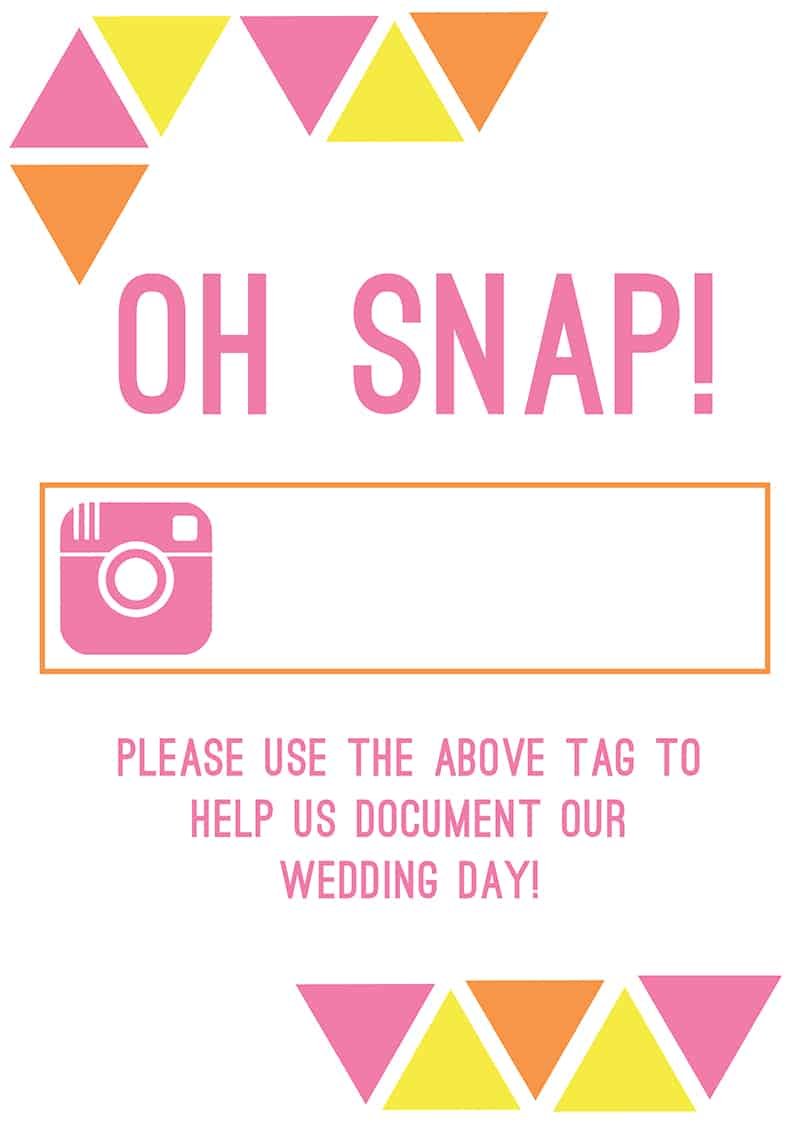 Free Printable Instagram Hashtag Sign To Use At Your Wedding