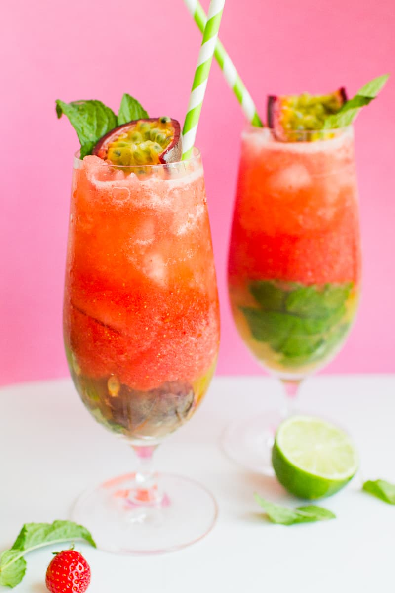 Passionfruit Strawberry Mojito Mint Rum Cocktail Recipe Drinks Summer Wedding_-1
