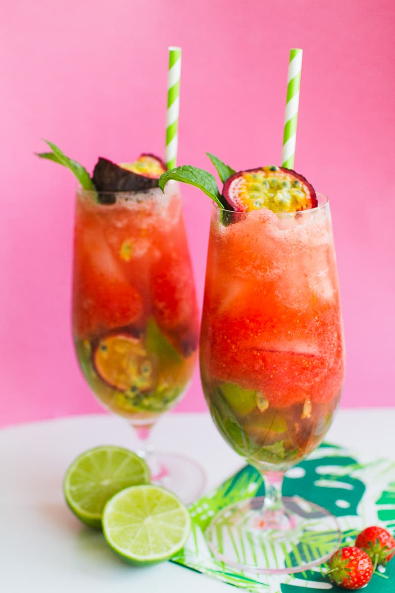 Passionfruit Strawberry Mojito Mint Rum Cocktail Recipe Drinks Summer Wedding_-3