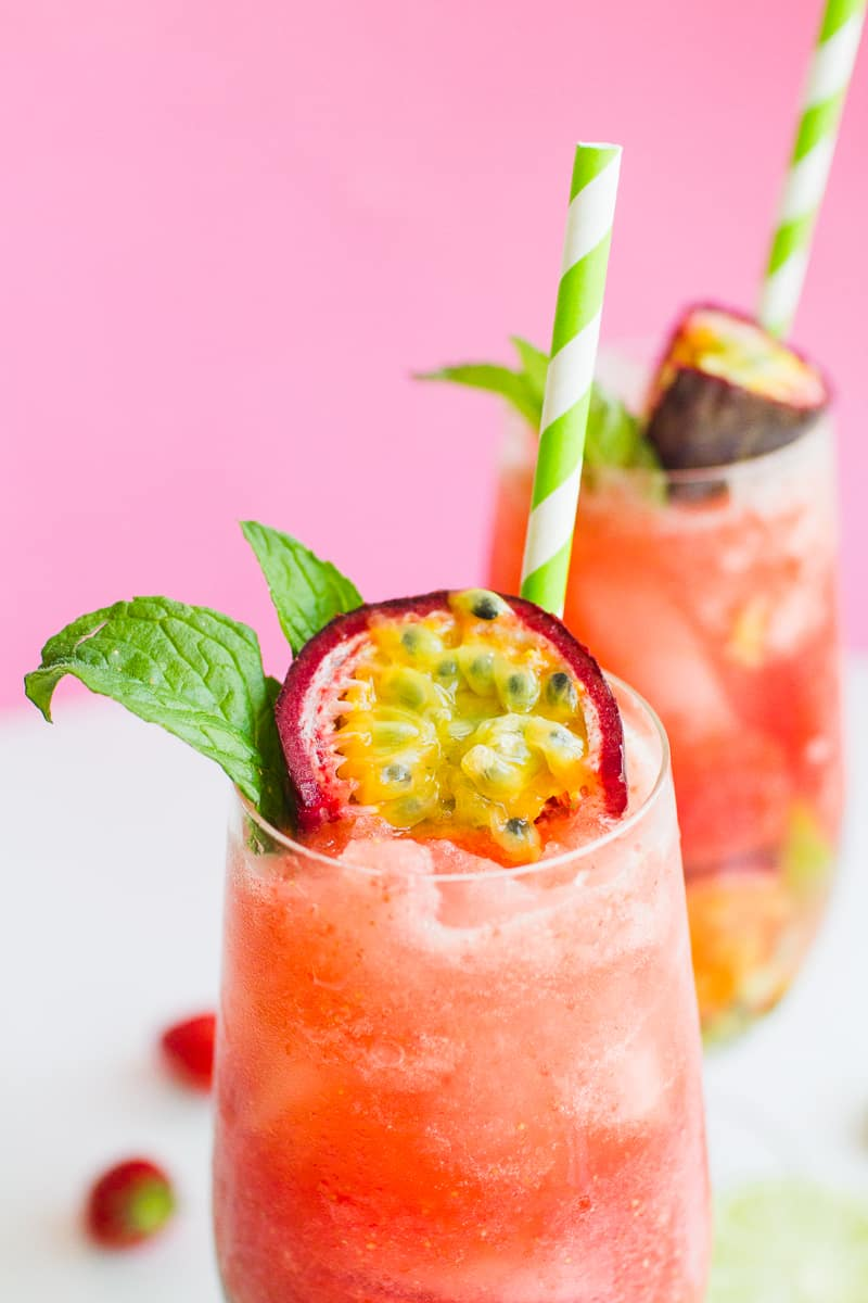 Passionfruit Strawberry Mojito Mint Rum Cocktail Recipe Drinks Summer ...